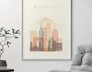 Mexico City art print skyline pastel cream second