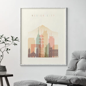 Mexico City art print skyline pastel cream second