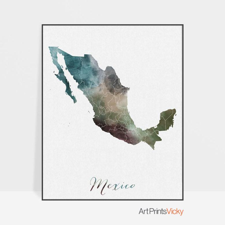 Mexico map print