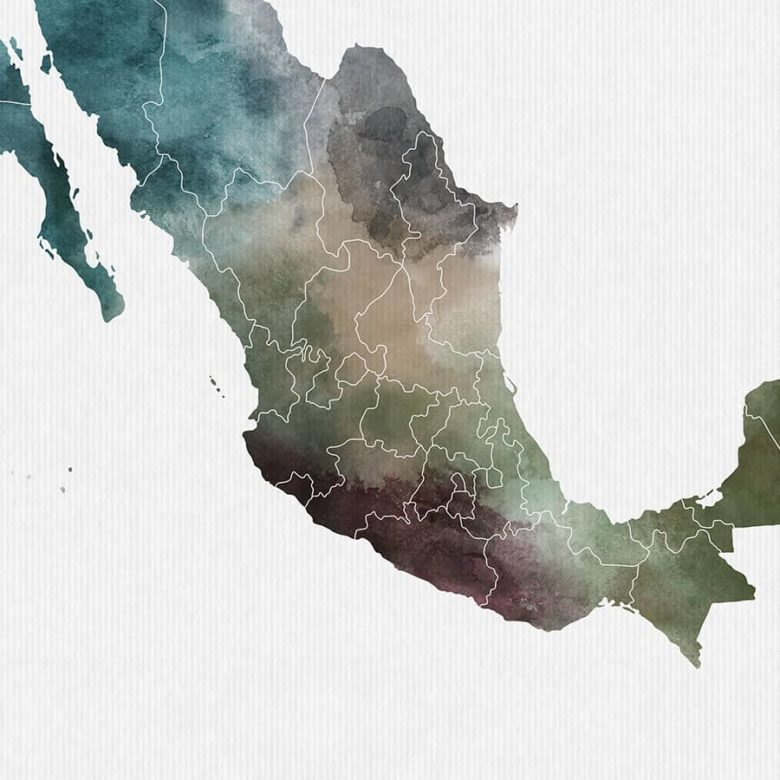 Mexico map print detail photo