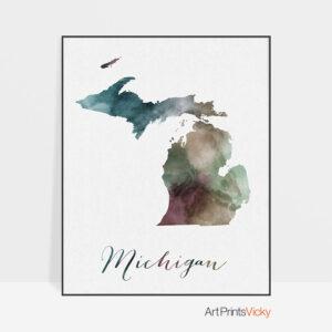 Michigan State map print