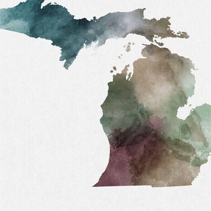 Michigan State map print detail
