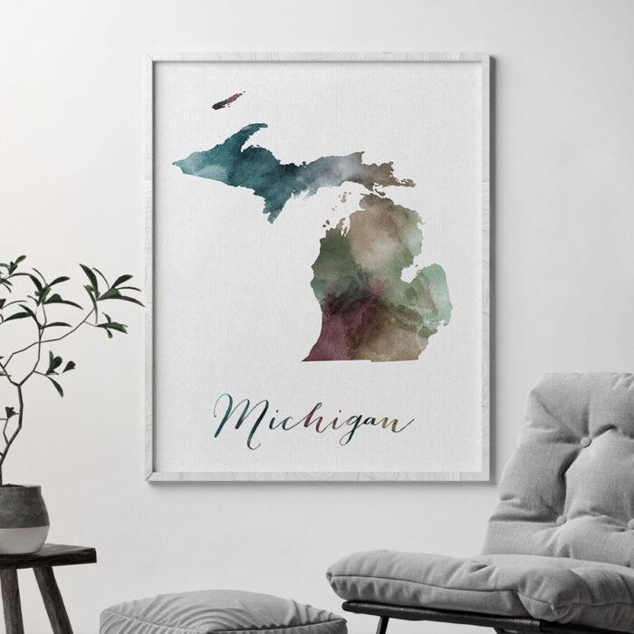 Michigan State map print second