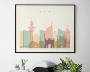 Milan travel poster pastel cream landscape second