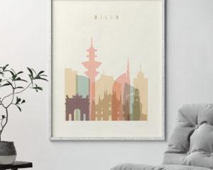 Milan art print skyline pastel cream