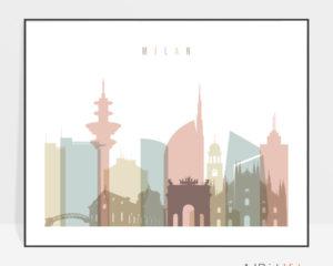 Milan Italy skyline print pastel white landscape