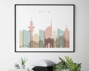 Milan Italy skyline print pastel white landscape second