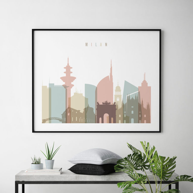 Milan Italy skyline print pastel white landscape second