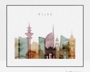 Milan skyline poster watercolor 1 landscape