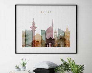 Milan skyline poster watercolor 1 landscape second