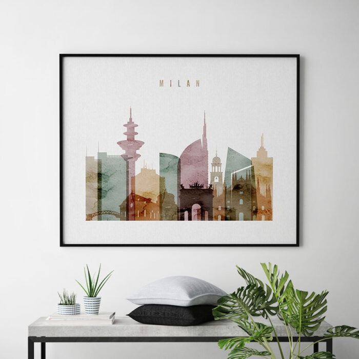 Milan skyline poster watercolor 1 landscape second