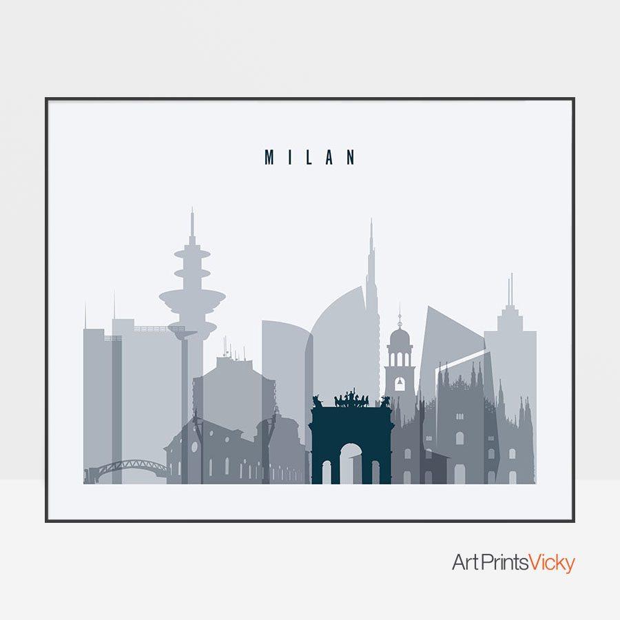 Milan skyline art grey blue landscape