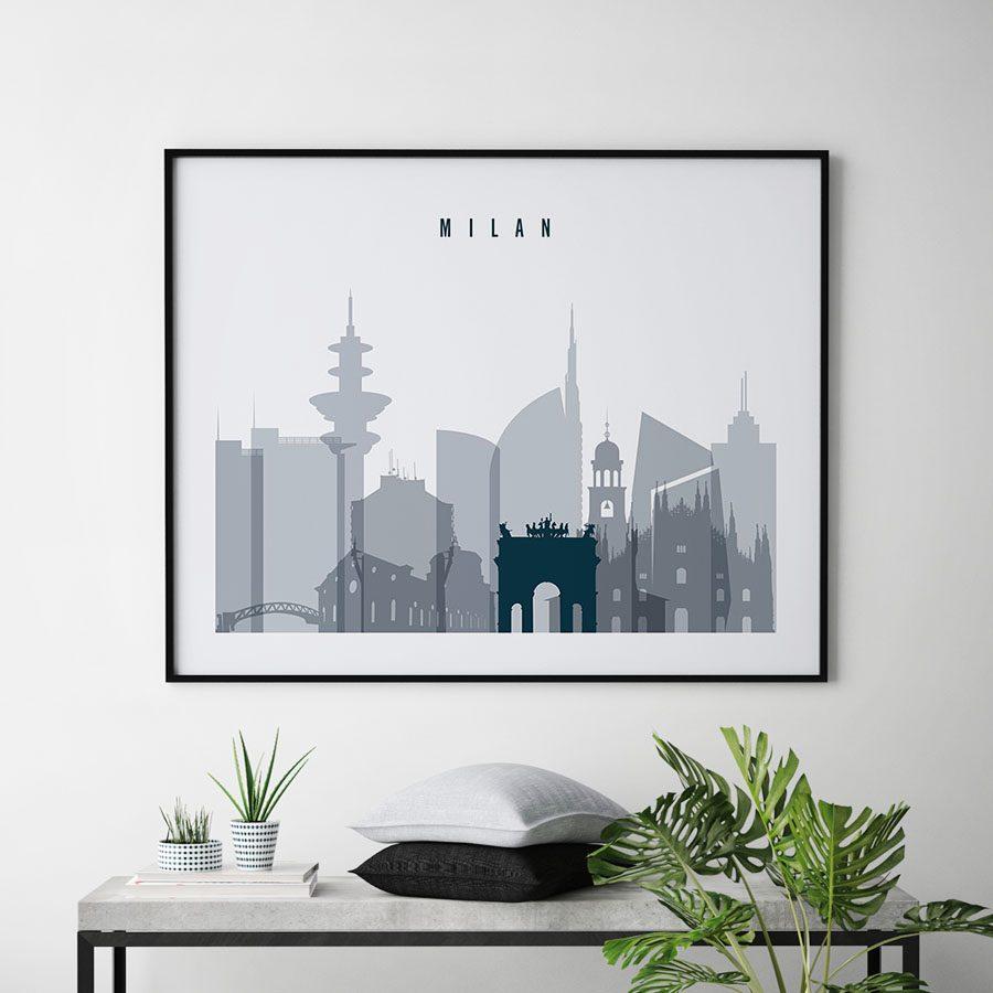 Milan skyline art grey blue landscape second