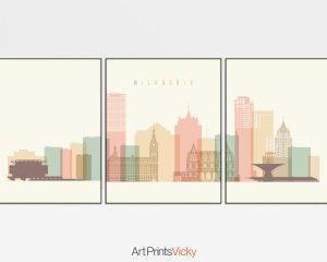Milwaukee skyline set of 3 prints pastel cream