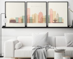 Milwaukee skyline set of 3 prints pastel cream second