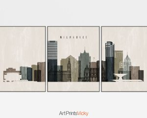 Milwaukee wall art set of 3 prints distressed 2