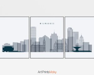 Milwaukee set of 3 prints skyline grey blue