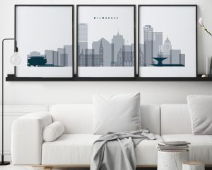Milwaukee set of 3 prints skyline grey blue second