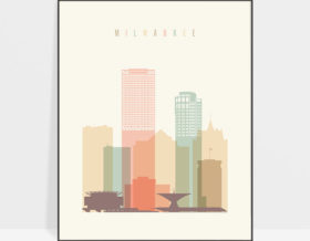 Milwaukee art print skyline pastel cream