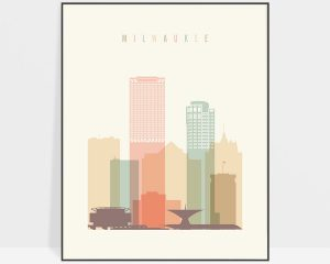 Milwaukee art print skyline pastel cream