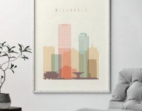 Milwaukee art print skyline pastel cream second