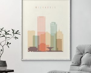 Milwaukee art print skyline pastel cream second