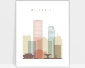 Milwaukee wall art pastel white