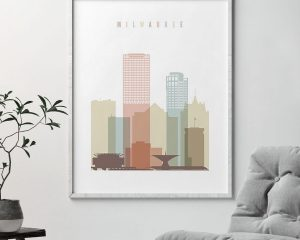 Milwaukee wall art pastel white second