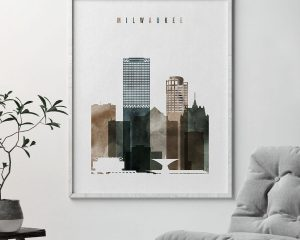 Milwaukee skyline art watercolor 2 second