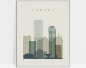 Milwaukee print skyline earth tones 1