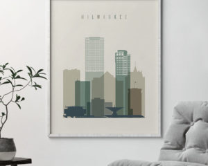 Milwaukee print skyline earth tones 1 second