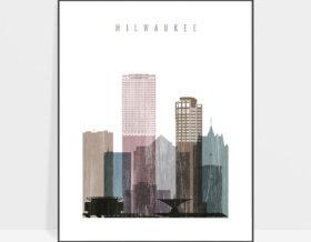 Milwaukee skyline poster distressed 1