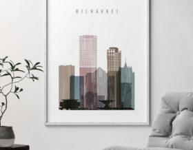 Milwaukee skyline poster distressed 1 second