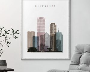 Milwaukee skyline poster distressed 1 second