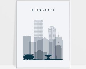 Milwaukee skyline poster grey blue
