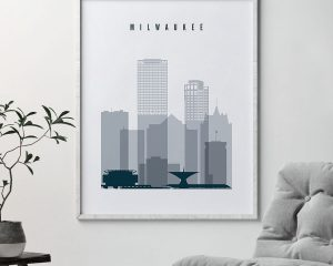 Milwaukee skyline poster grey blue second