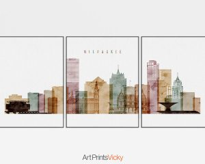 Milwaukee triptych skyline print watercolor 1
