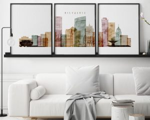 Milwaukee triptych skyline print watercolor 1 second