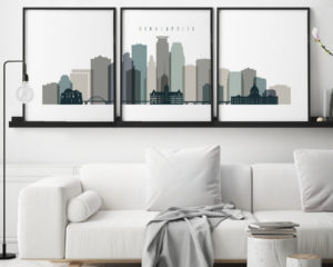 Minneapolis wall art set of 3 prints earth tones 4 second