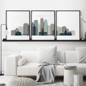 Minneapolis wall art set of 3 prints earth tones 4 second