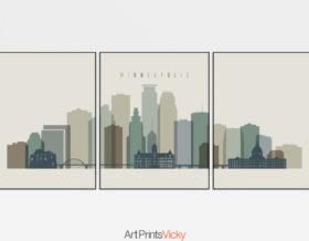 Minneapolis skyline art set of 3 prints earth tones 1