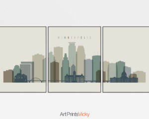 Minneapolis skyline art set of 3 prints earth tones 1