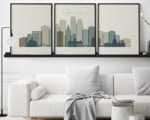 Minneapolis skyline art set of 3 prints earth tones 1 second