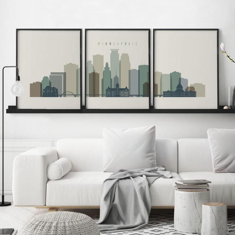 Minneapolis skyline art set of 3 prints earth tones 1 second