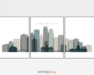 Minneapolis wall art set of 3 prints earth tones 4