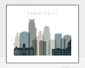 Minneapolis skyline print landscape earth tones 4