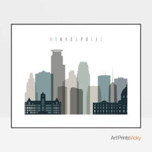Minneapolis skyline print landscape earth tones 4