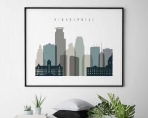 Minneapolis skyline print landscape earth tones 4 second