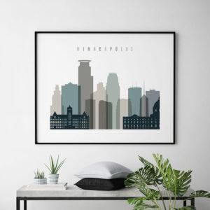 Minneapolis skyline print landscape earth tones 4 second