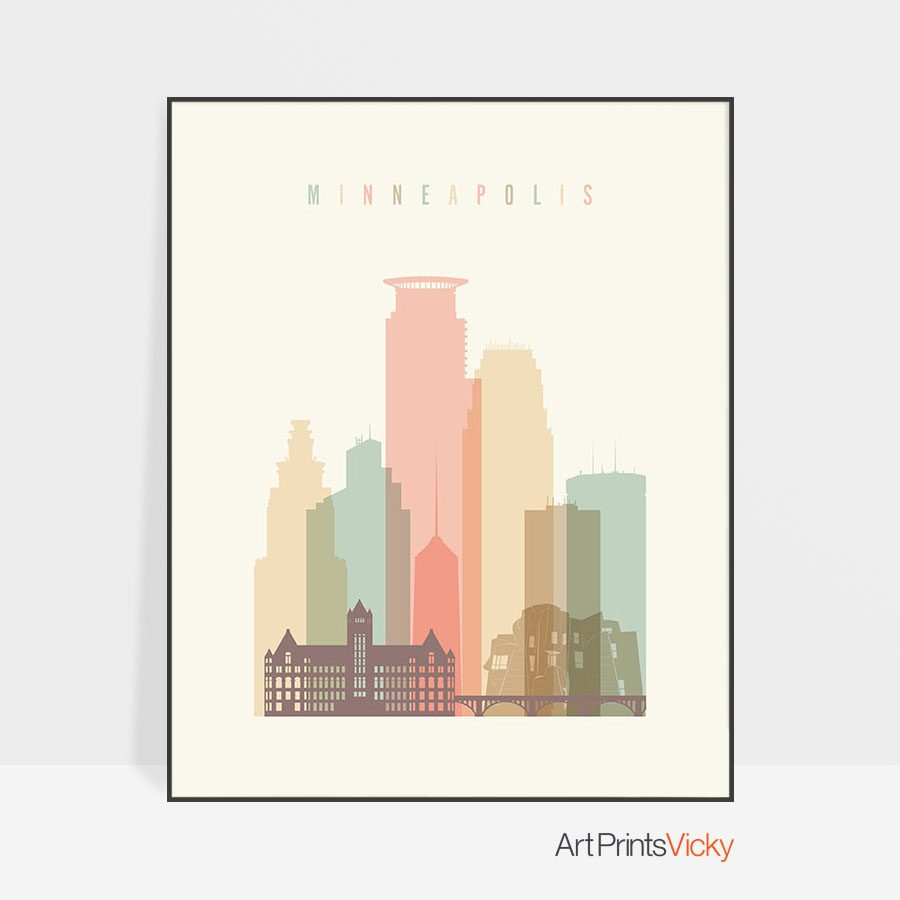Minneapolis art print skyline pastel cream